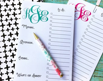 Monogrammed Daily Planner Note Pad, monogrammed note pad, daily schedule note pad