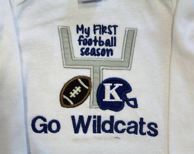 Featured listing image: Kentucky, Kentucky Wildcats, Wildcats, baby shower gift, baby boy gift, baby boy clothes, bodysuit, football, handmade, blue, white