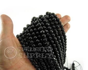 Jade Beads, 8mm Round Faceted Black Jade Bead Strands, One 1 Full Strand Semiprecious Gemstone Beads, Loose Beads