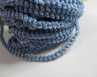 """Estate Notions --ONE YARD- Blue Wired Bump Curly Chenille - Blue - 1/4"""" wide"""