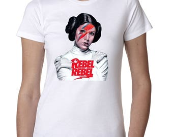 "Star Wars Princess Leia 'Rebel Rebel"" Custom Womens tshirt"