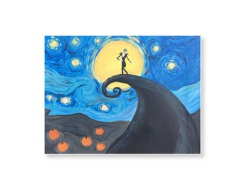"Van Gogh and Tim Burton Mashup ""A Starry Nightmare Before Christmas"" 9x12 framed acrylic painting"