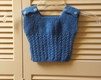 Girls Size 0 to 3 Months Knitted Top / Infant/ Hand Knitted Blue Sleeveless Summer Top/ Handmade Children Clothing