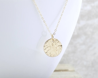 Gold Disc Necklace - Textured Circle Necklace - Hammered Gold Disk Necklace - Coin Necklace - Everyday Jewelry - Gift For Her - Christmas