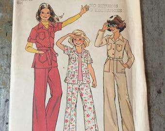 Vintage Simplicity Sewing Pattern 7034 Girls' Shirt Jacket Pants Size 7