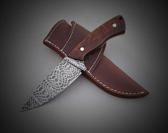 Custom Handmade Geometric Pattern Damascus Steel Hunting Skinner knife with heavy duty custom leather sheath