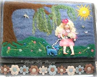 A Walk in The Park Needle Felted Clutch Handbag Art Doll Purse One-of-a-Kind Mixed Media Art Purse