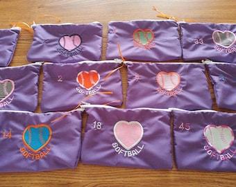 Handmade Personalized softball bags