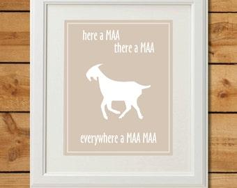 Goat Nursery Art - Digital Art Print - Everywhere a Maa Maa
