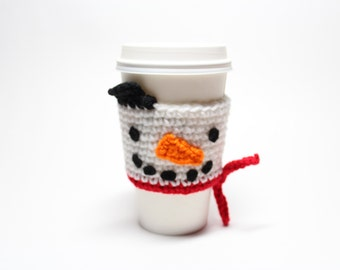 Snowman Coffee Cozy, Coffee Sleeve, Christmas Crochet Can Holder, Drink Cup Holder, Frosty Java Jacket