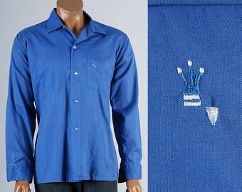 Large 1960s Blue Shirt 60s Mens Casual Shirt Loop Collar Long Sleeve Vintage Square Bottom Sanforized Poly Cotton Blend Rockabilly Man