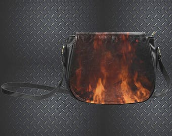 Flame Print Saddle Bag
