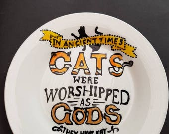 Hand painted Love of Cats snack plate