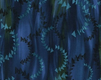 JN-C2913 BLUE RECLAIMED West, Quilt Fabric, Blue Currents, Judy Niemeyer, Timeless Teasures, Flying Geese, Turquoise, Green, Purple Shades