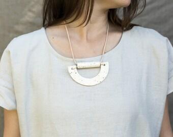 Ceramic Bib Statment Necklace. Handmade Ceramic Leather Cord.  Adjustable.