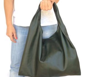 Leather Hobo Bag Green Boho Tote Shoulder Large Medium OLA Olaccessories FREE SHIPPING