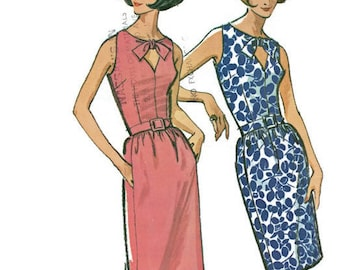McCall's 7245 Sewing Pattern 1960s Retro Mod Wiggle Dress Mad Men Style Keyhole Neckline Fitted Bodice Size 12