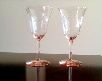 Vintage Pair Pink Etched Depression Glass Wine Goblets / Toasting Goblets