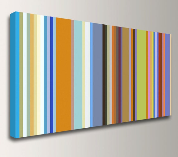 "Stripes Line Art Colorful Canvas Print Retro Modern Art Panoramic Wall Decor ""Band of Colors"""