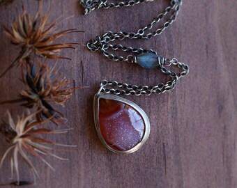 Carnelian Drusy Gemstone Necklace . Metalwork Orange Gemstone Drusy  Necklace.  Artisan Gemstone Necklace