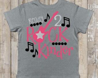 Ready To Rock Kindergarten T-Shirt, Kindergarten Girl, First day of school girls T,  Ready 2 Rock Girls Shirt, First day of kindergarten