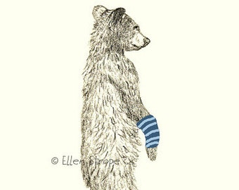 CARDS, Get Well Note Card, bear, bear decor, get well cards, drawings, bear drawings, Ellen Strope, castteam