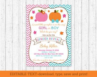 Pumpkin Gender Reveal Invitation / Fall Pumpkin / Pink & Blue Gender Reveal / INSTANT DOWNLOAD Editable Text A195
