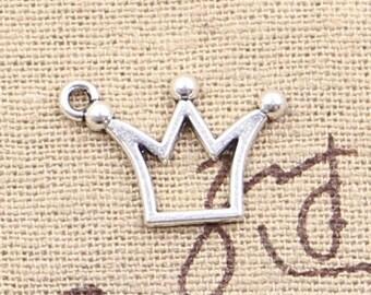 12 Crown Charm Pendant 20mm x 13mm -  - Jewelry Making