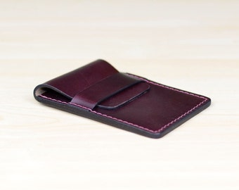 Leather Business Card Holder, Personalized Leather Business Card Case,  Leather Card Case, Leather Card Wallet - Horween Burgundy Chromexcel