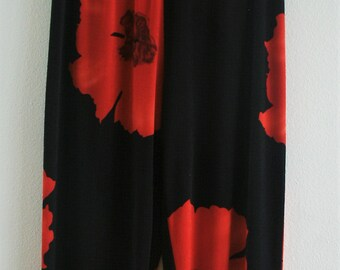 Red Blossom Flower Elastic Flowy 1990's Stretch Pant