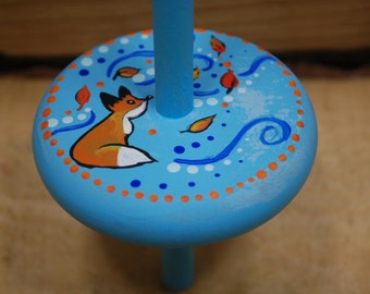foxy breeze drop spindle, handpainted and handcrafted