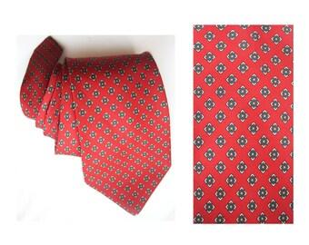 Geometric tie red recycle upcycle repurposed neck tie silk necktie vintage mens made in uk