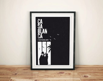 Alternative casablanca quote movie minimalist classic film Humphrey Bogart Ingrid Bergman black and white poster print wall art home decor