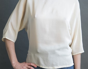 Cream Silk Blouse, Dolman Sleeve 80s 3/4 sleeves, White Shirt Woven Top XS S