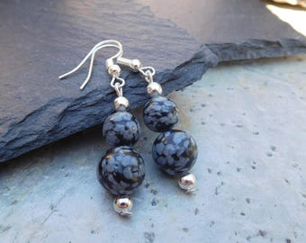Snowflake Obsidian and silver bead drop earrings (LARGE)