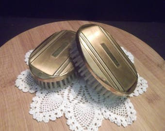 Set of 2 Vintage Brass & Wood Vanity Hand Brushes~Hair/Clothes