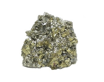Chalcopyrite Quartz Rock Crystals and Pyrite, Metal Ore Mineral from Peru, Rockhound Estate Gem Specimen or Focal, Gleaming, Sparkly, Bright
