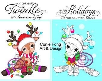 Digital Stamp, Digi Stamp, Digistamp, Reindeer Lights and Reindeer Wreath  and Sentiments bundle Conie Fong, Christmas, coloring page
