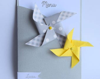 Menu windmill with mark up - baptism, communion, wedding, anniversary - yellow, gray