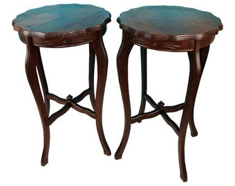 Pair of Art Deco Vintage Inlay Wood Accent Side Tables