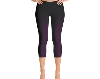 dark purple Capri Leggings Womens Girls Yoga Pants - gradient colors black to lilac - printed textured sexy Workout, Festival, Party Style