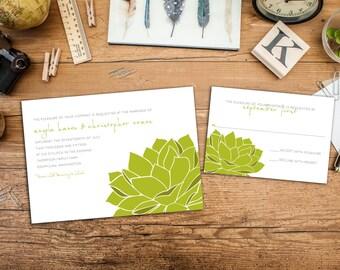 Sweet Succulent Wedding Invitation Set, Save the Dates, Wedding response cards, Thank you cards, Garden Wedding, Botanical Wedding, Simple