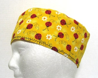 Unisex Scrub Hat, Surgical Cap or Chemo Hat Lady Bugs on Yellow