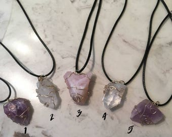Unique Handmade Wire Wrapped Raw Crystal & Stone Necklaces