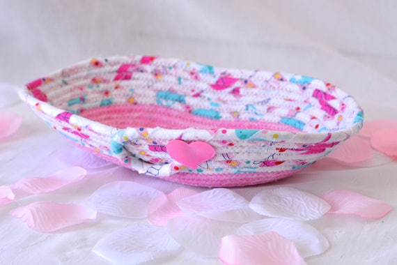 Girl Gift Basket, Cute Eyeglass Basket, Handmade Artisan Key Basket, Ring Dish Bowl, Pink Desk Accessory, Spring Rose Basket