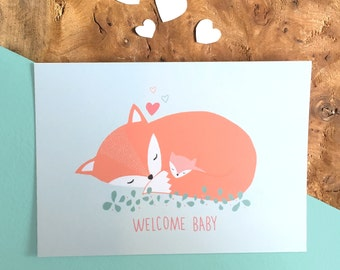Card WELCOME BABY fox