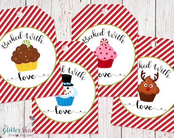 PRINTABLE Baked With Love Gift Tags, Homemade Food Gift Tags, Christmas Gift Tags, Cupcake Favor Tags, Baking Gift Tags, INSTANT DOWNLOAD