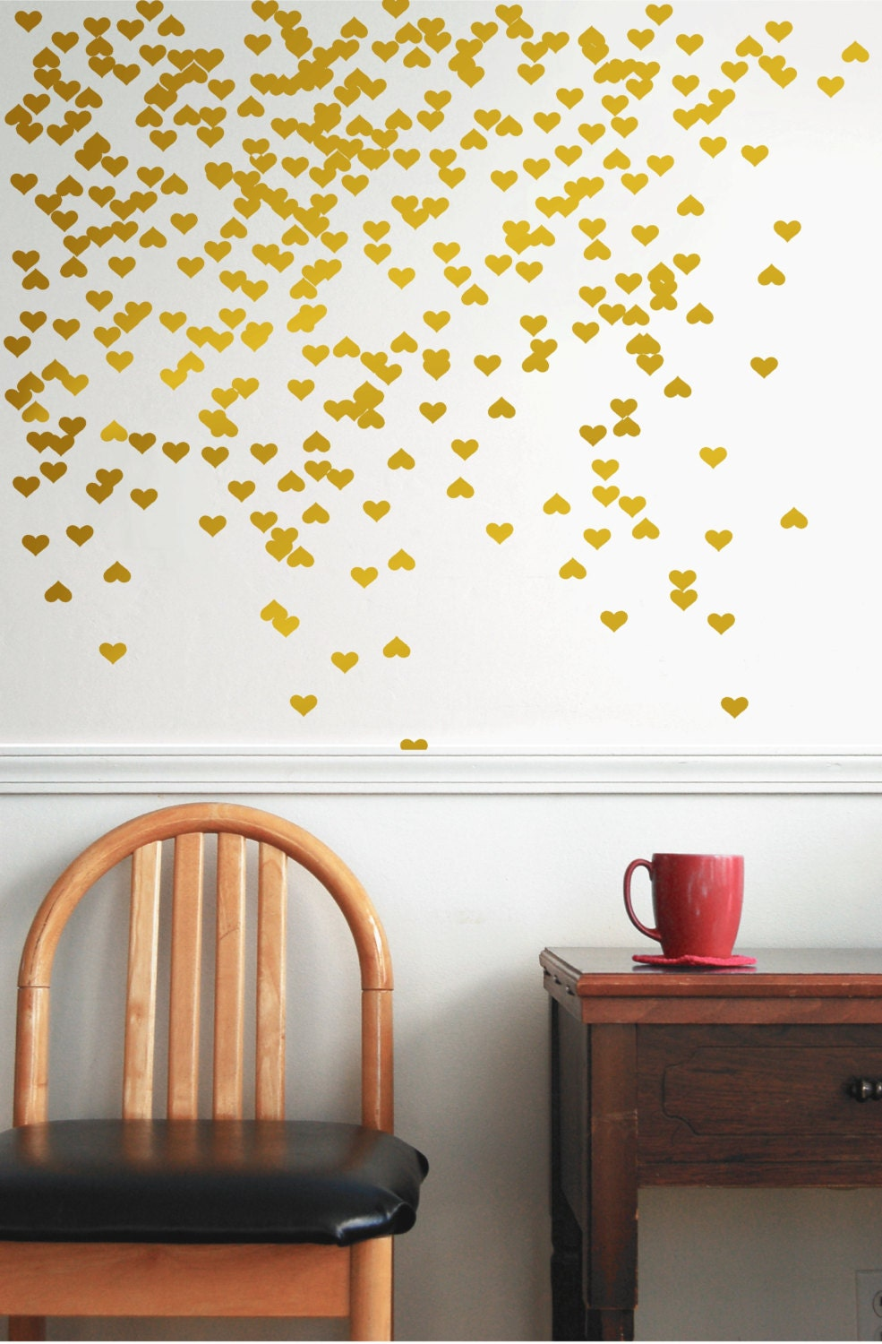 Gold Vinyl Heart Wall Decal Wall Decal Pattern Gold