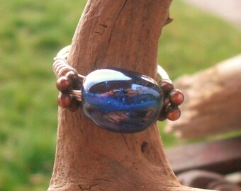 Blue hand beaded and wrapped wire ring