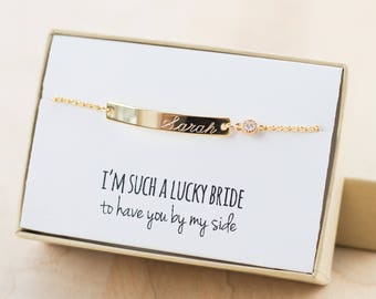 Junior Bridesmaid Gift - Junior Bridesmaid Jewelry - Junior Bridesmaid Bracelet (Gold Bar Bracelet with CZ) - Flower Girl Bracelet